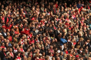 Arsenal fans at the Emirates. Photo by Ronnie Macdonald www.flickr.com